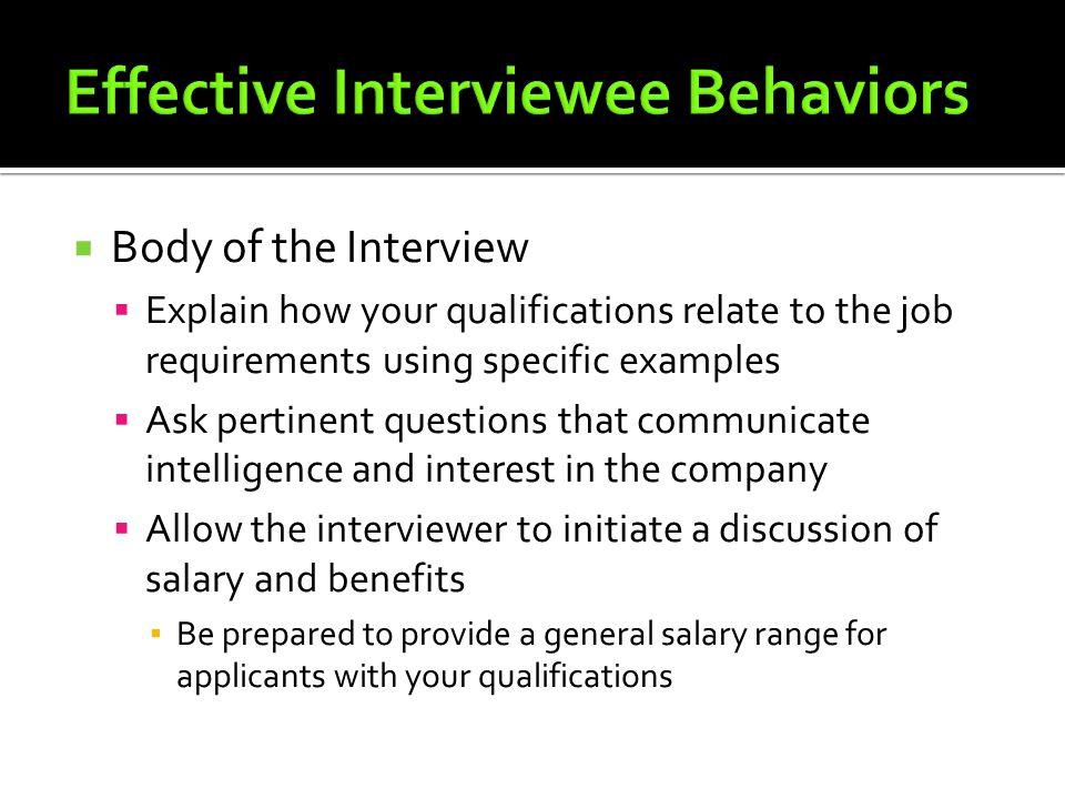 Effective Interviewee Behaviors