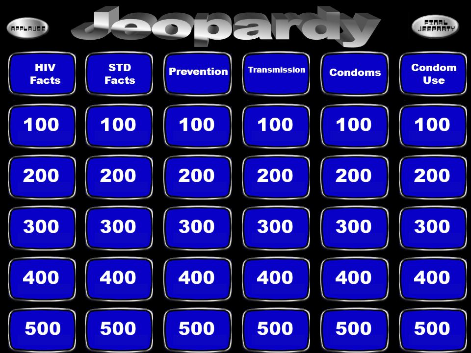 Jeopardy Condoms. HIV. Facts. STD. Facts. Condom. Use. Prevention. Transmission. 100. 100.