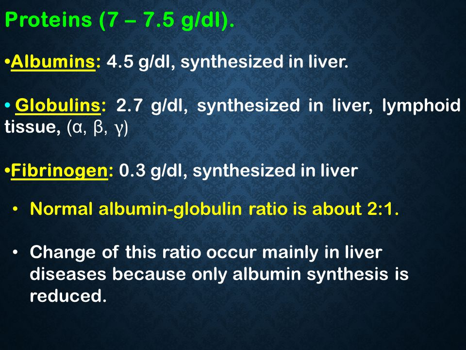 Proteins (7 – 7.5 g/dl). Albumins: 4.5 g/dl, synthesized in liver.