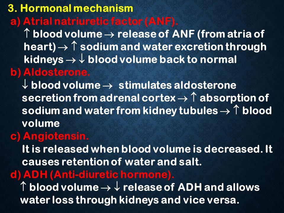 3. Hormonal mechanism a) Atrial natriuretic factor (ANF).