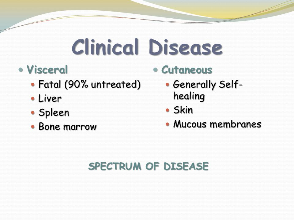 Clinical Disease Visceral Cutaneous Fatal (90% untreated) Liver Spleen