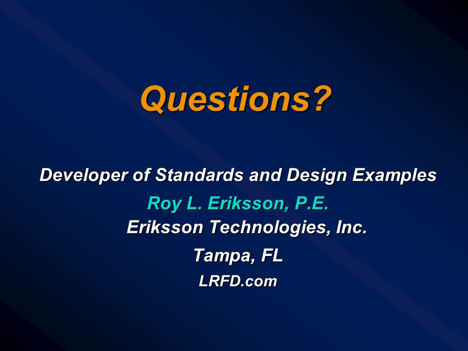 Questions Developer of Standards and Design Examples