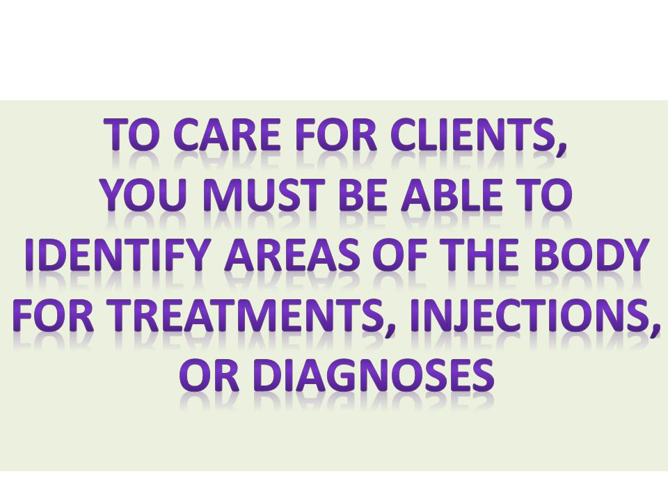 Identify areas of the body For treatments, injections,