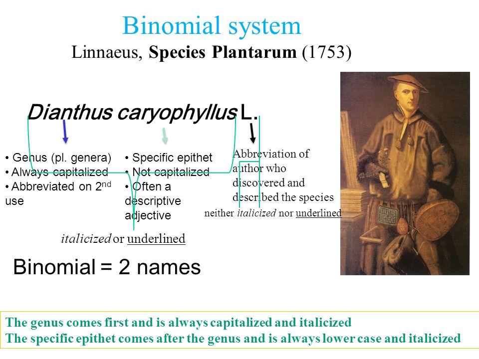 Binomial system Linnaeus, Species Plantarum (1753)