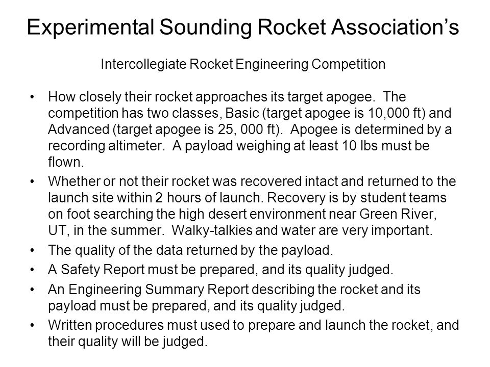 Experimental Sounding Rocket Association's Intercollegiate Rocket Engineering Competition
