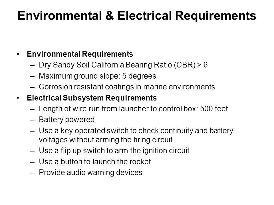 Environmental & Electrical Requirements