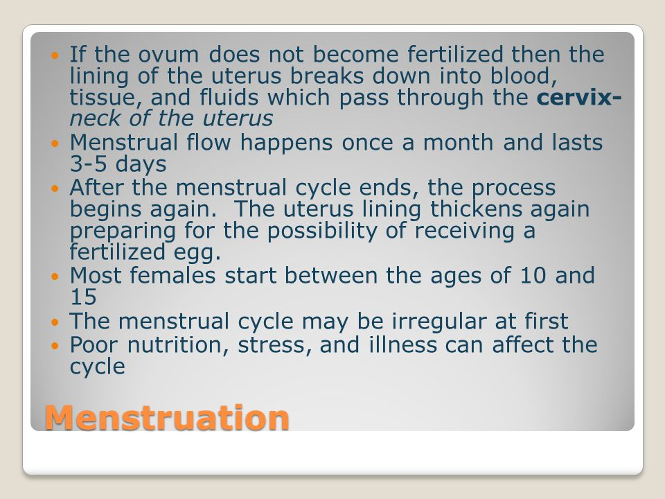 If the ovum does not become fertilized then the lining of the uterus breaks down into blood, tissue, and fluids which pass through the cervix- neck of the uterus