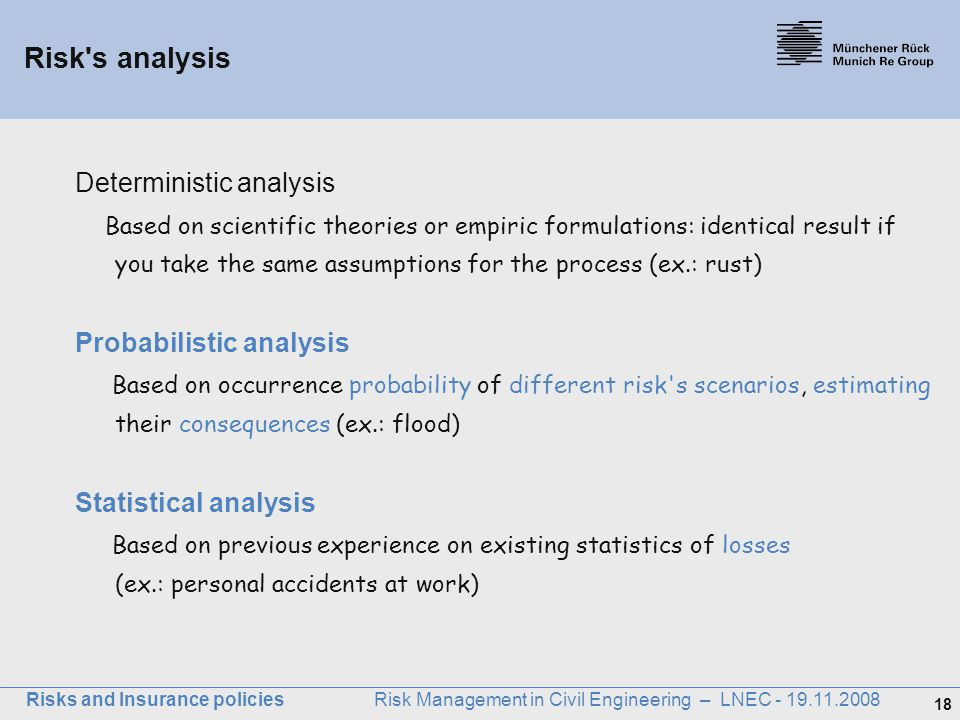 Risk s analysis Deterministic analysis
