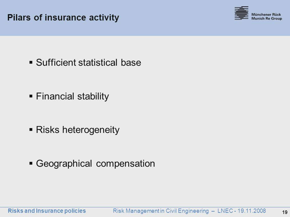 Pilars of insurance activity