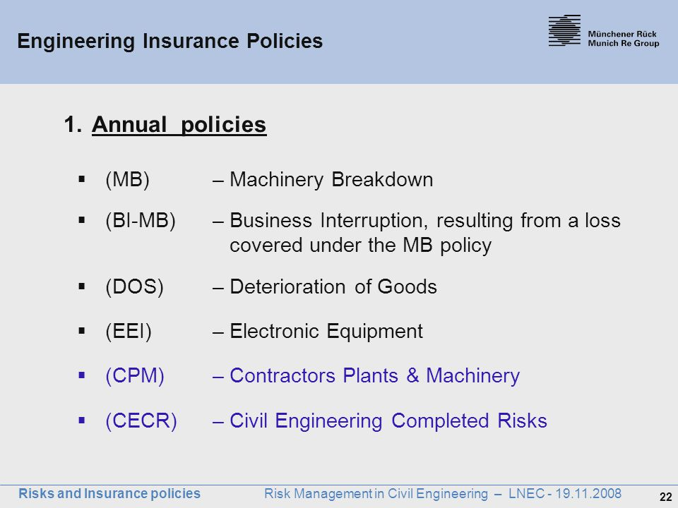 Engineering Insurance Policies