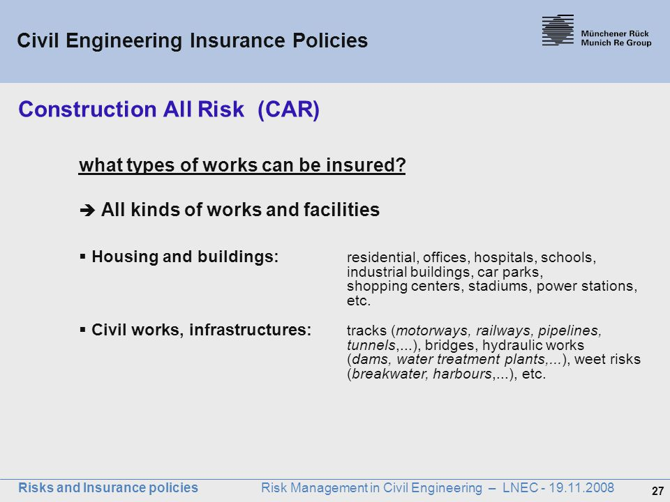 Risks and insurance policies ppt download for Construction types insurance