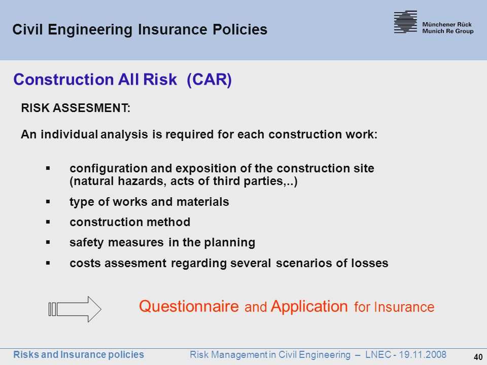 Risks and insurance policies ppt download for Construction types for insurance