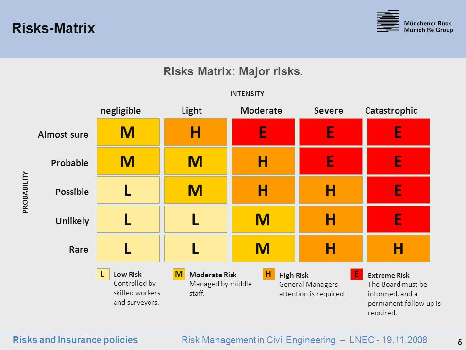 Risks Matrix: Major risks.