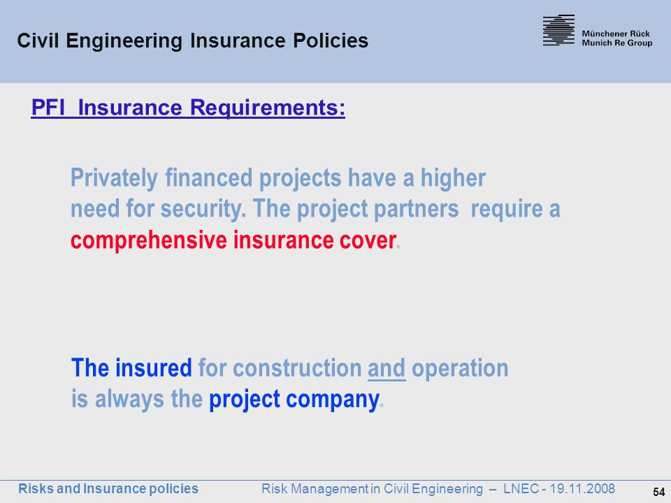 PFI Insurance Requirements: