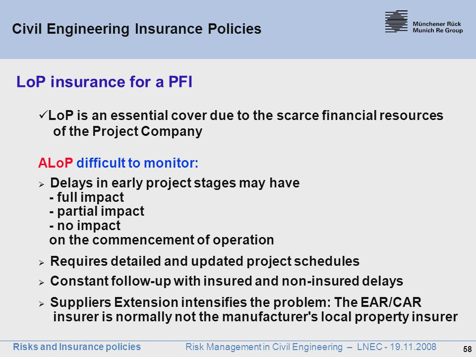 LoP insurance for a PFI Civil Engineering Insurance Policies