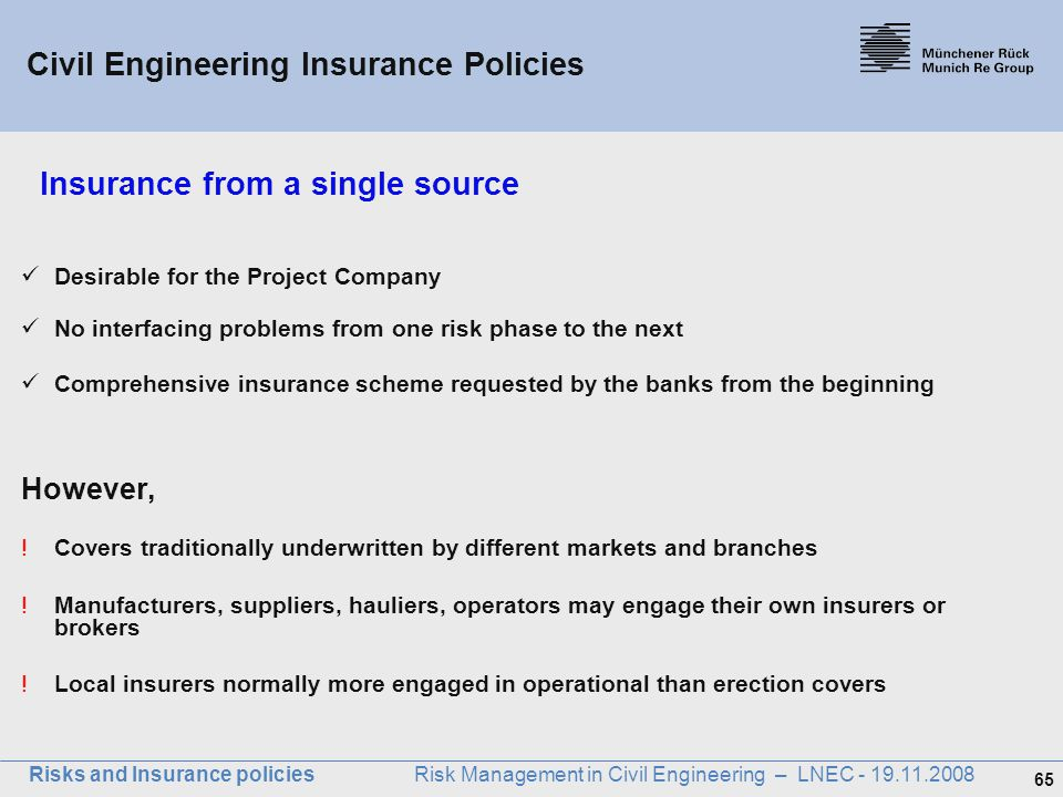 Insurance from a single source