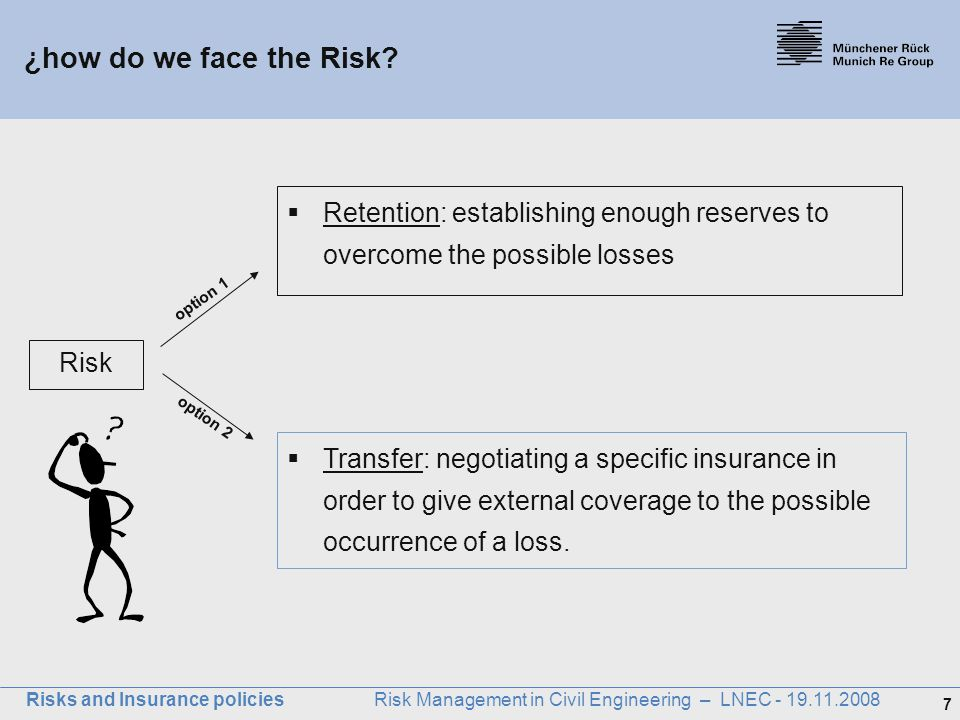 Münchener Rück ¿how do we face the Risk Retention: establishing enough reserves to overcome the possible losses.