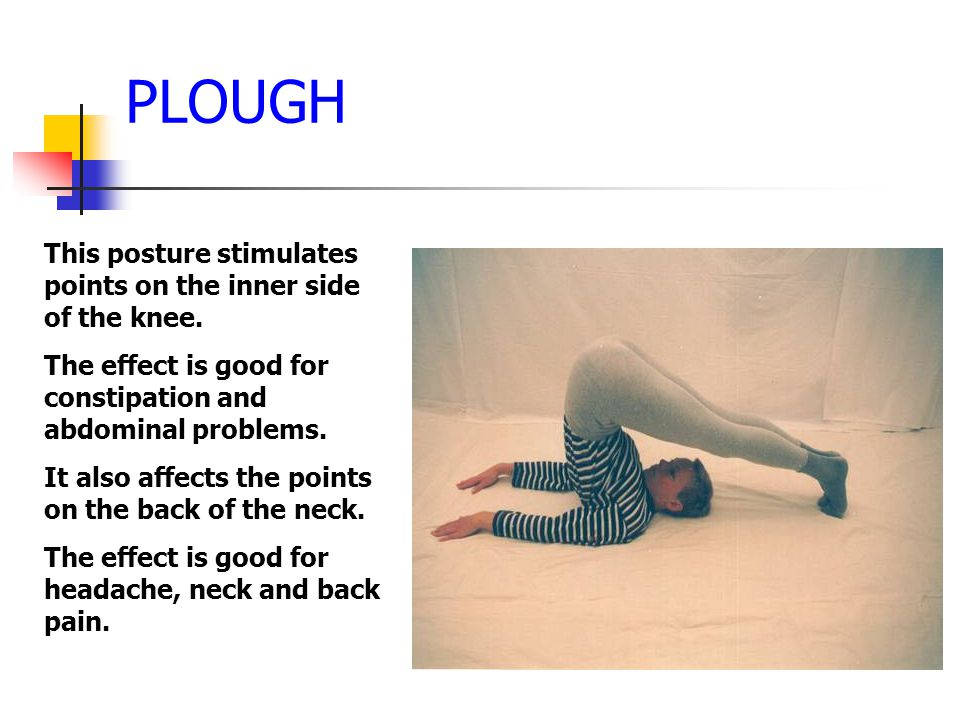 PLOUGH This posture stimulates points on the inner side of the knee.