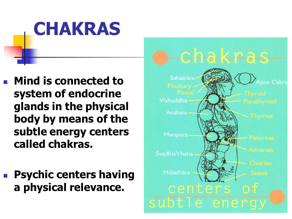 CHAKRAS Mind is connected to system of endocrine glands in the physical body by means of the subtle energy centers called chakras.