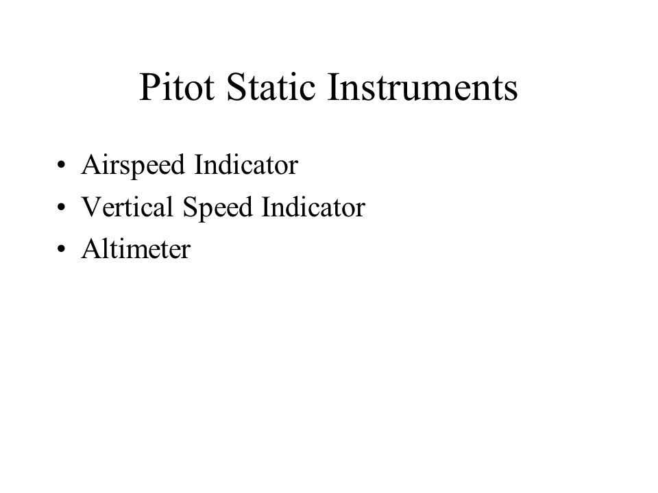 Pitot Static Instruments