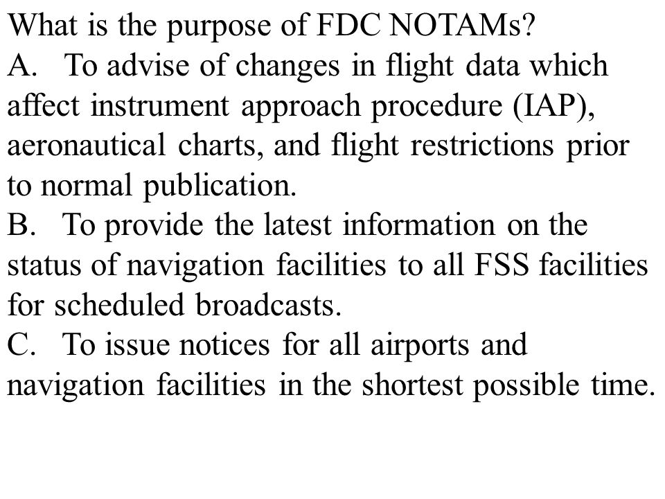 What is the purpose of FDC NOTAMs