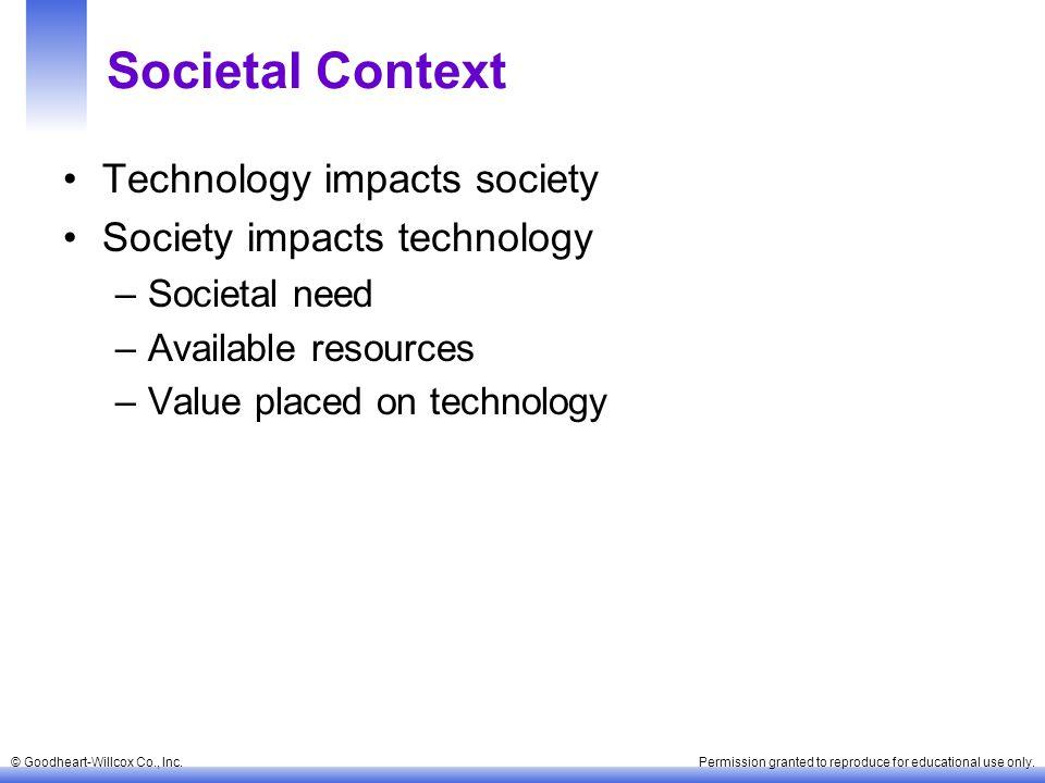 Societal Context Technology impacts society Society impacts technology