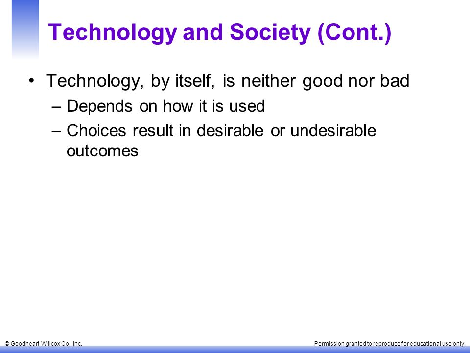 Technology and Society (Cont.)