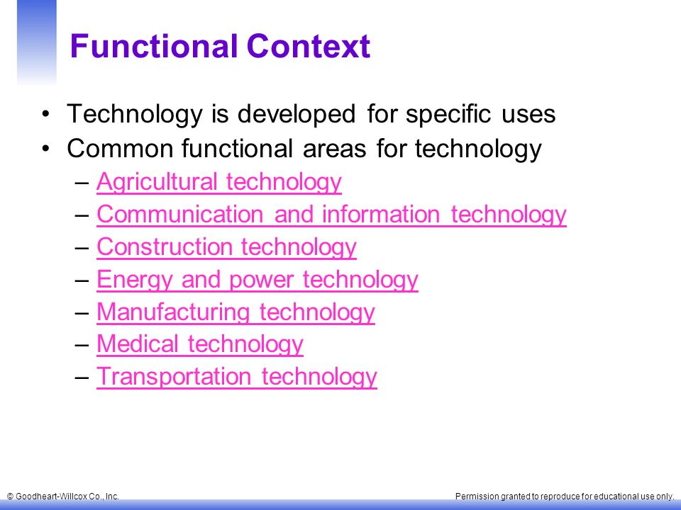 Functional Context Technology is developed for specific uses