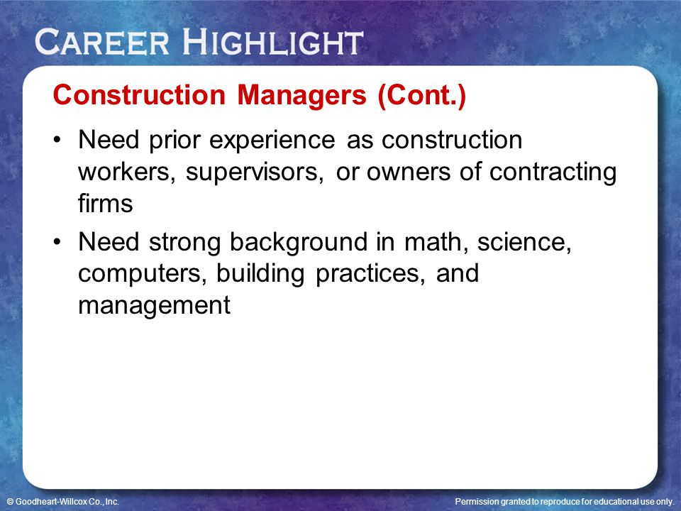 Construction Managers (Cont.)