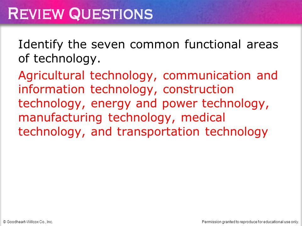 Identify the seven common functional areas of technology.