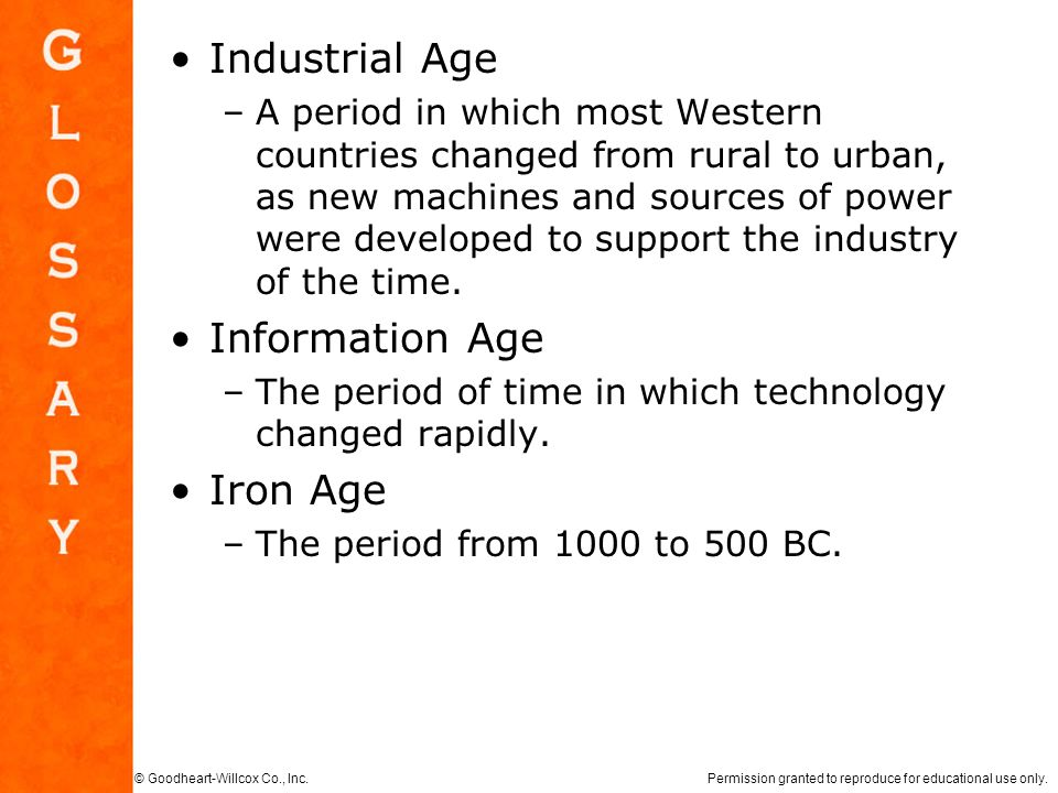 Industrial Age Information Age Iron Age