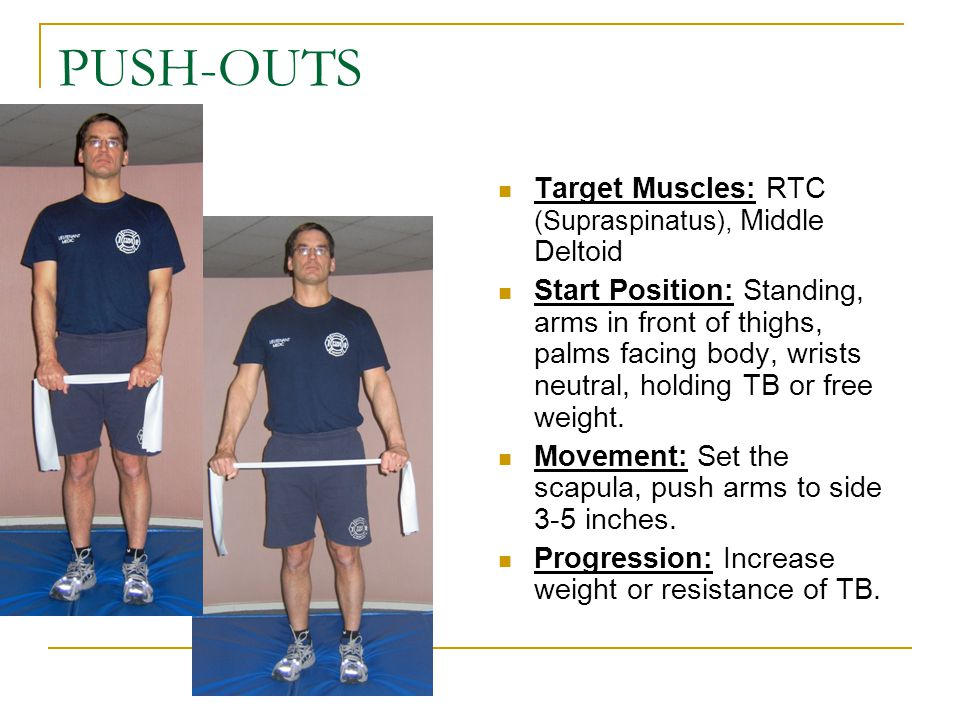 PUSH-OUTS Target Muscles: RTC (Supraspinatus), Middle Deltoid