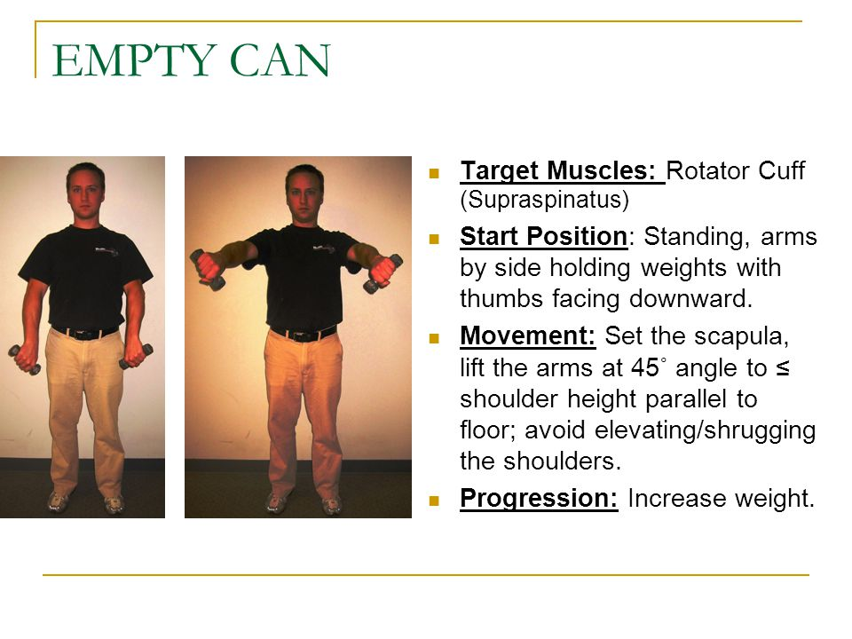 EMPTY CAN Target Muscles: Rotator Cuff (Supraspinatus)