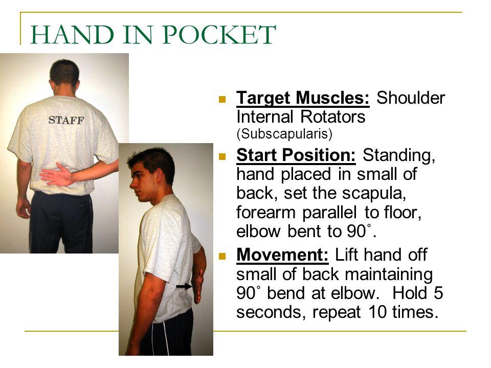 HAND IN POCKET Target Muscles: Shoulder Internal Rotators (Subscapularis)