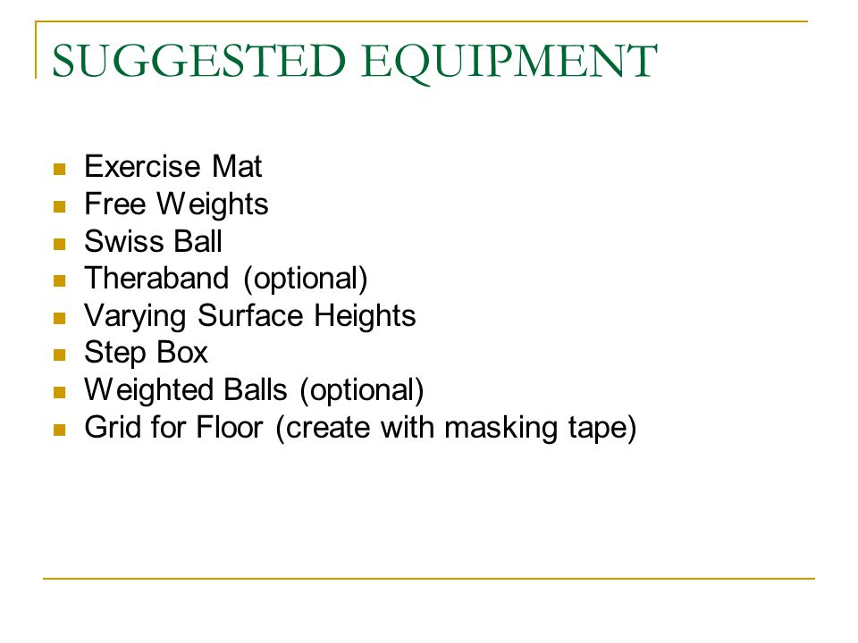 SUGGESTED EQUIPMENT Exercise Mat Free Weights Swiss Ball