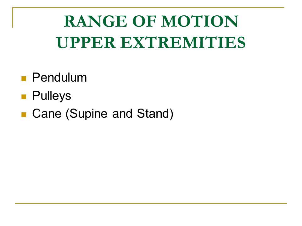 RANGE OF MOTION UPPER EXTREMITIES