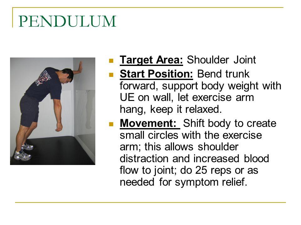 PENDULUM Target Area: Shoulder Joint
