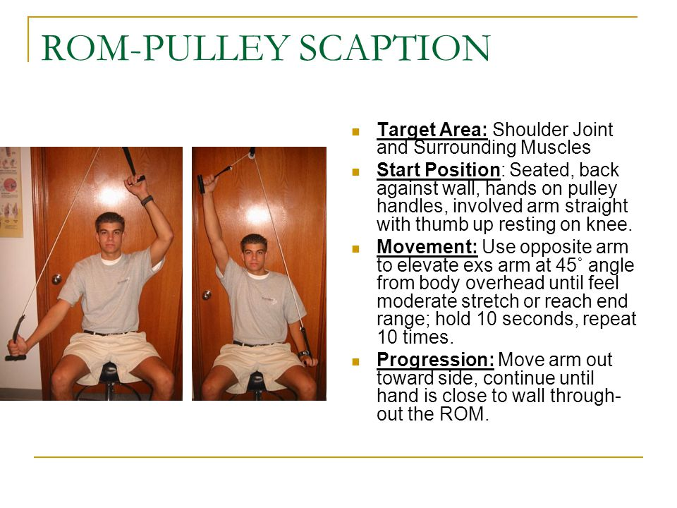 ROM-PULLEY SCAPTION Target Area: Shoulder Joint and Surrounding Muscles.