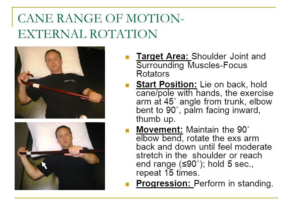 CANE RANGE OF MOTION- EXTERNAL ROTATION