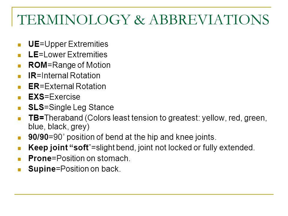 TERMINOLOGY & ABBREVIATIONS