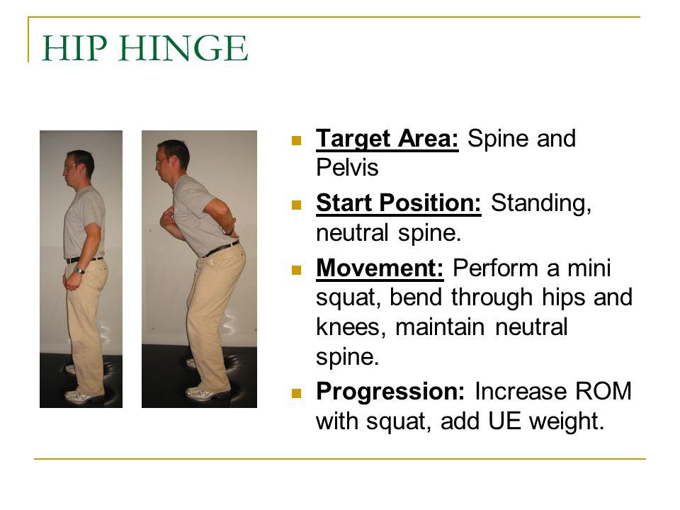HIP HINGE Target Area: Spine and Pelvis