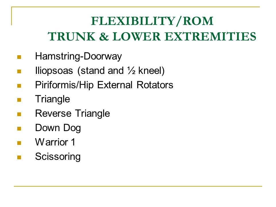FLEXIBILITY/ROM TRUNK & LOWER EXTREMITIES