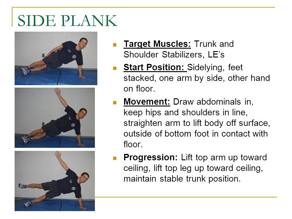 SIDE PLANK Target Muscles: Trunk and Shoulder Stabilizers, LE's