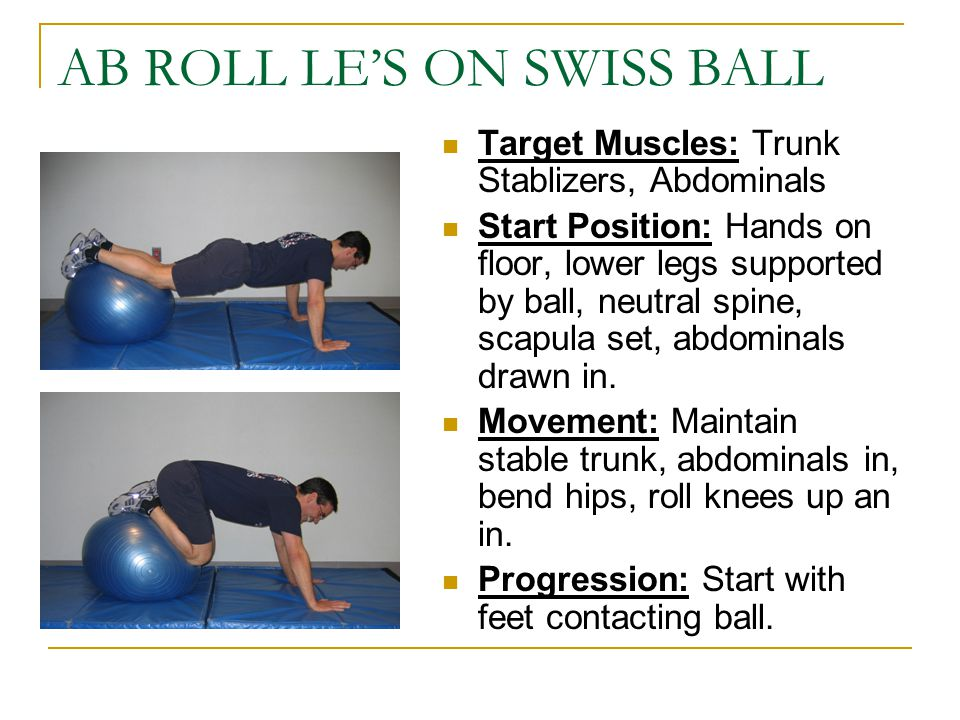AB ROLL LE'S ON SWISS BALL