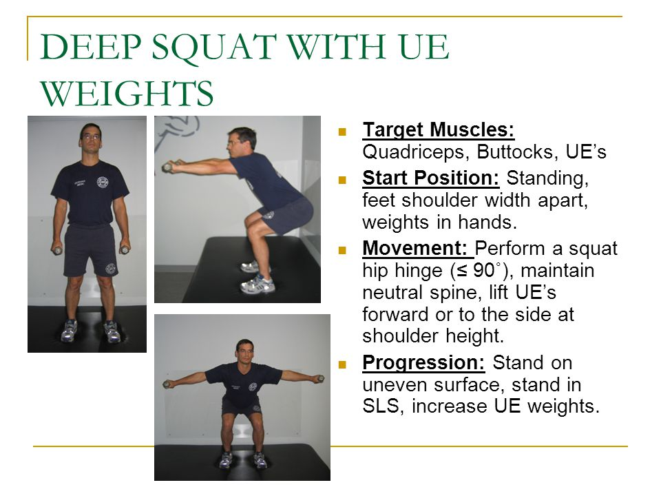 DEEP SQUAT WITH UE WEIGHTS