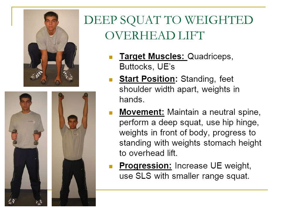 DEEP SQUAT TO WEIGHTED OVERHEAD LIFT
