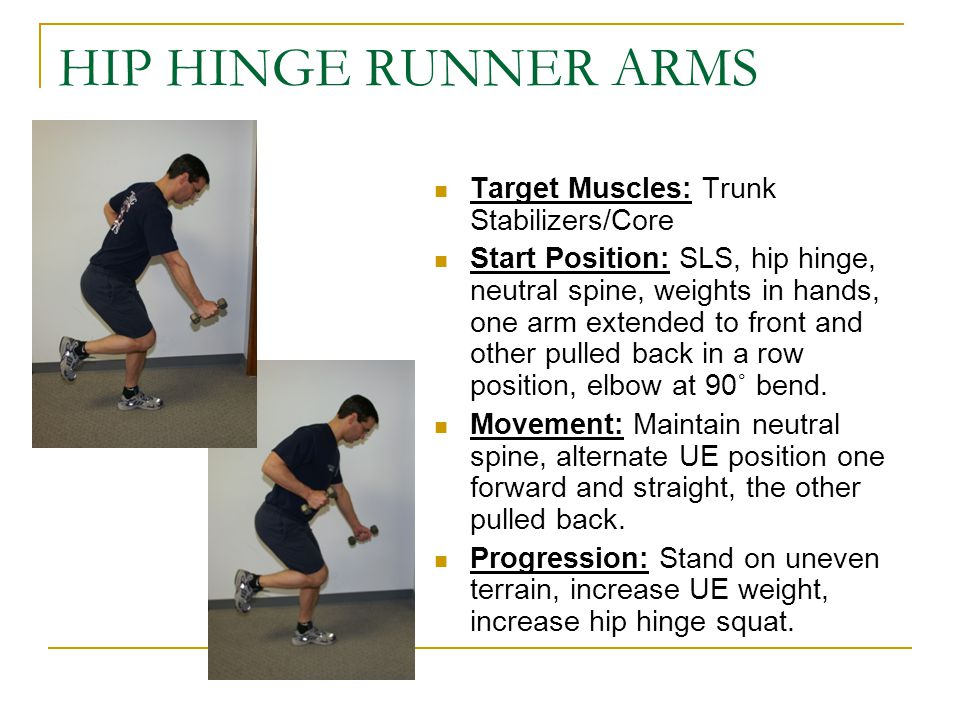 HIP HINGE RUNNER ARMS Target Muscles: Trunk Stabilizers/Core