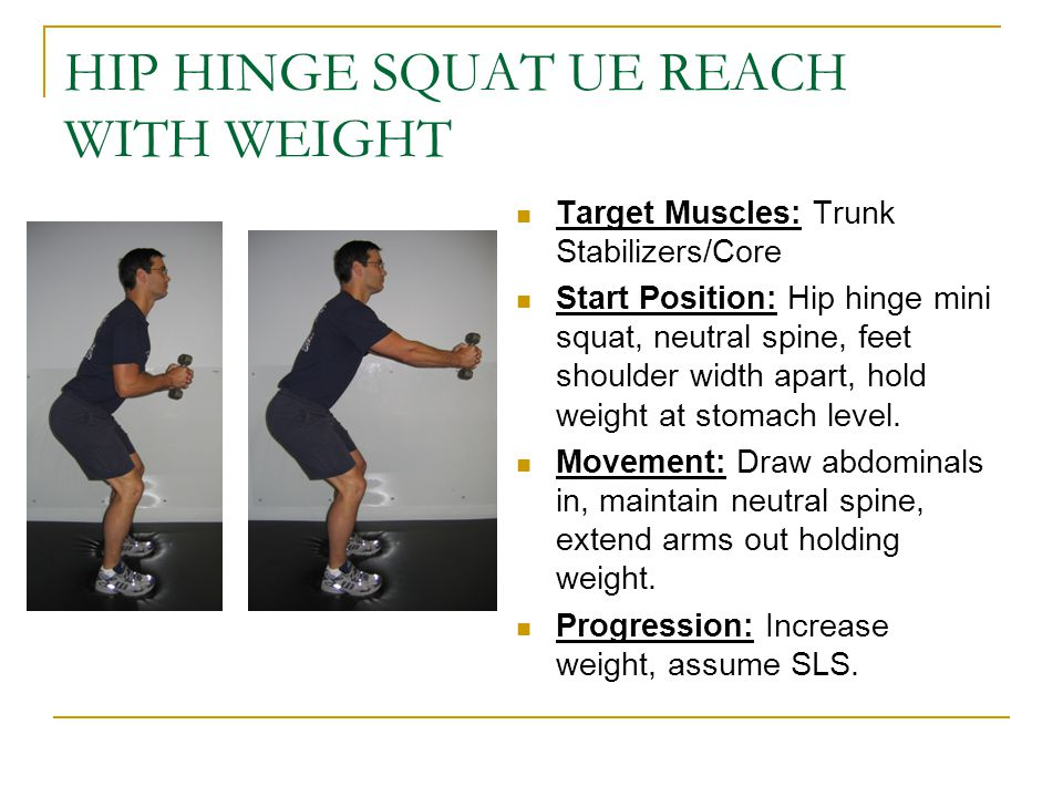 HIP HINGE SQUAT UE REACH WITH WEIGHT