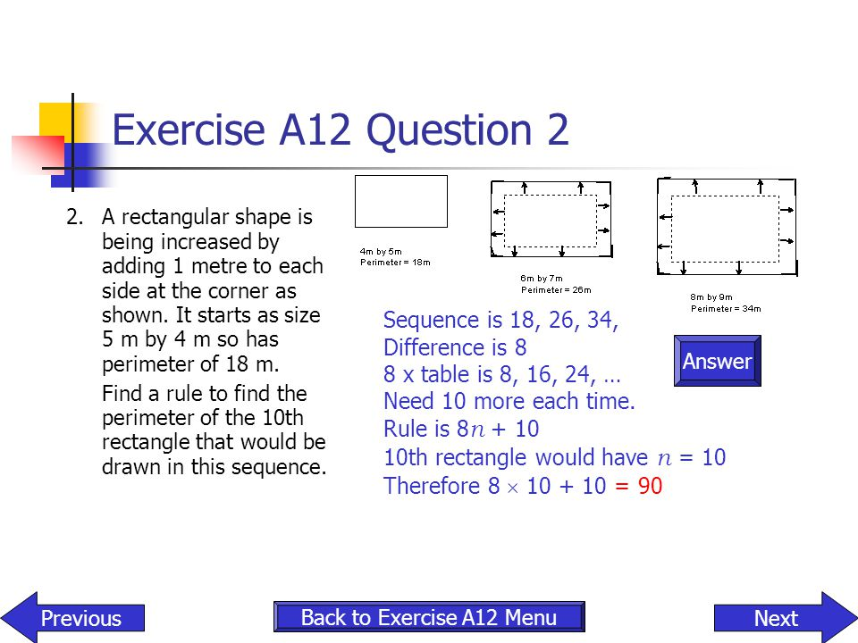 Exercise A12 Question 2 Sequence is 18, 26, 34, Difference is 8