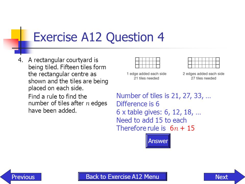 Exercise A12 Question 4 Number of tiles is 21, 27, 33, …